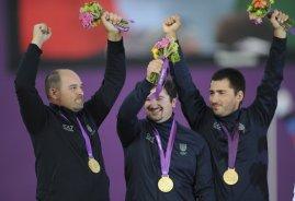 Michele Frangilli, Marco Galiazzo e Mauro Nespoli: oro olimpico nel tiro con l'arco alle Olimpiadi di Londra 2012